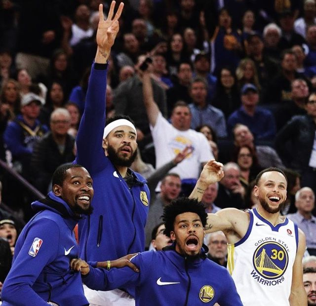 Kevindurant Stephencurry Javale Mcgee And Quinn Cook Of The Golden State Warriors