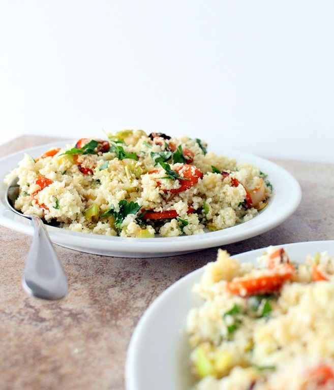 cauliflower couscous with sauteed carrots and leeks