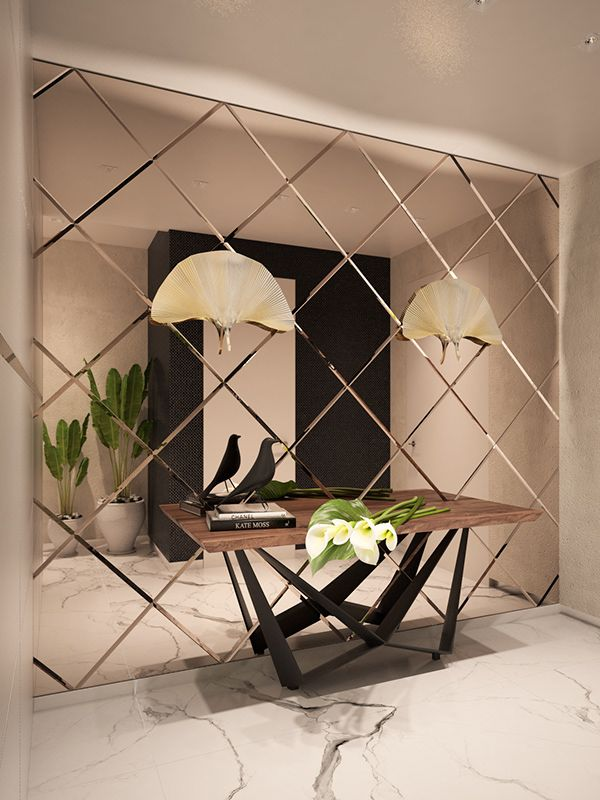 Mirror Decor Living Room, Entryway Decor, Mirror For Bedroom, Glass Wall Design, Wall Mirror Design, Modern Mirror Design, Wall Panel Design, House Wall Design, Drawing Room Wall Design