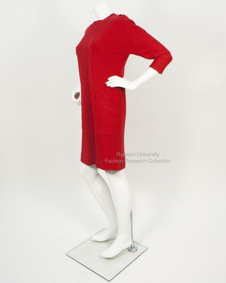 Red wool Paulene Trigger day dress. FRC 2015.05.002A