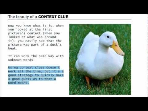 ▶ Using Context Clues to improve vocabulary - YouTube  This video is terrific!