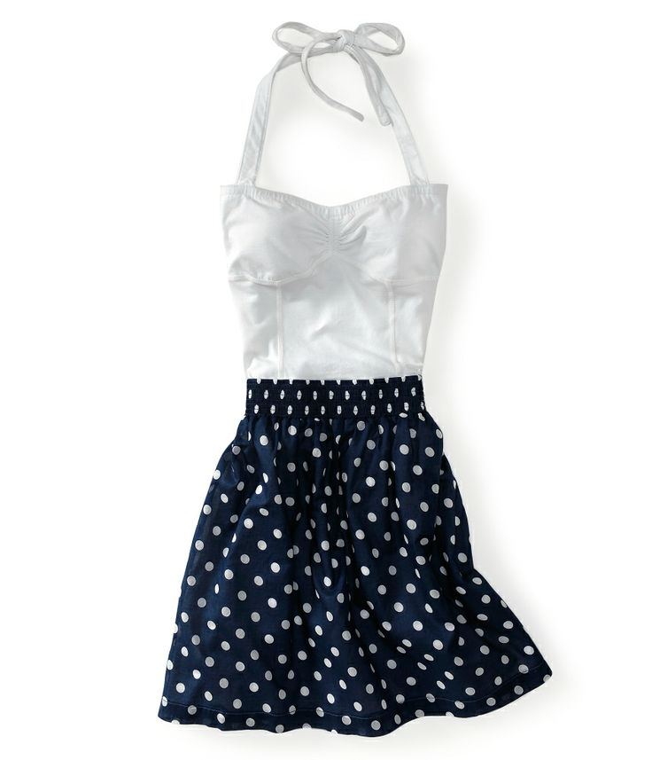Awesomely retro for summer. Could def make this work, for this price. Aeropostale.Summer Dresses, Fashion, The Notebooks, Polka Dots, Style, Cute Dresses, Outfit, At The Beach, Halter Dresses