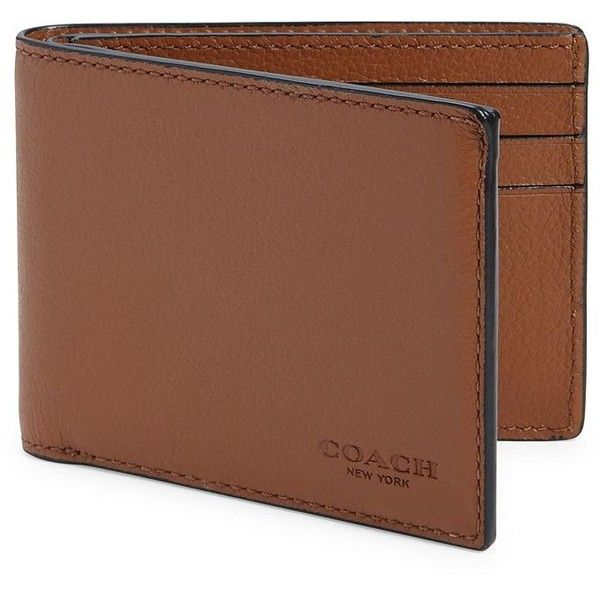 COACH Sport Calf Leather Slim Billfold ($92) ❤ liked on Polyvore featuring men's fashion, men's bags, men's wallets, apparel & accessories, saddle, coach mens wallet, bi fold mens wallet, mens slim wallet and mens bifold wallets