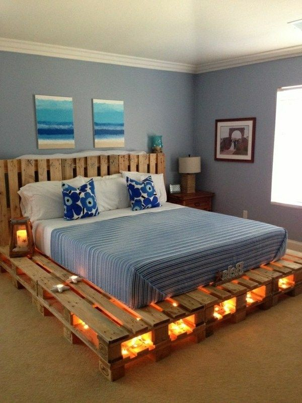 bed from pallets with interesting lighting  diy bedroom Best 25 Pallet frames ideas on Pinterest beds Diy