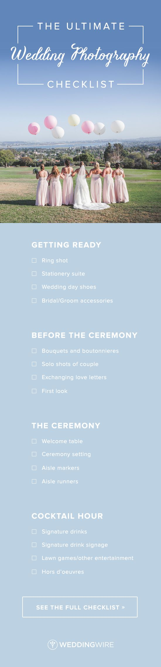 The Ultimate Wedding Photography Checklist - On a day filled with so many picture-worthy moments it can be hard to keep track. See the full list of all the must-have wedding photos on @weddingwire! {Brit Jaye Photography}