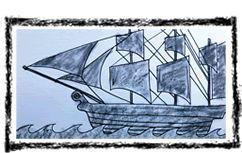 Free video art lesson (drawing) - First Fleet Ship