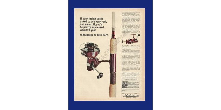 """SHAKESPEARE FISHING REEL - Original 1965 Vintage Print Ad - """"If Your Indian Guide Asked To Use Your Reel And Meant It, You'd Be Pretty. . ."""" by VintageAdarama on Etsy"""