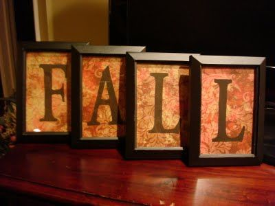 Dollar Store frames, scrapbook paper, and letter stencils, viola...easy and attractive Fall decor.