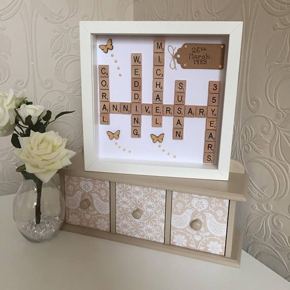 Scrabble Art Coral Wedding Anniversary Picture Frame Coral
