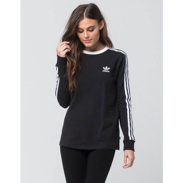 Adidas 3 Stripes Womens Long Sleeve Tee ($45) ❤ liked on Polyvore featuring tops, t-shirts, stripe long sleeve tee, striped long sleeve t shirt, striped t shirt, adidas tee and cotton t shirts