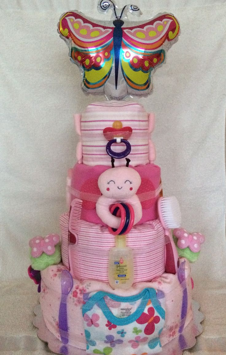 $85.99 Amina Butterfly Four Tier Diaper Cake.