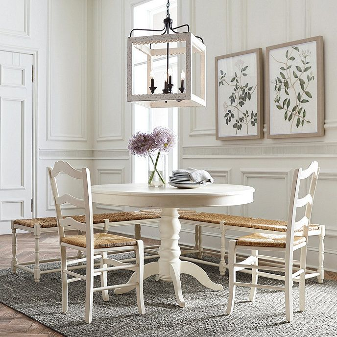 Eliza Modern Farmhouse Wood Chandelier In 2020 Dining Table With Bench Dining Table Wood Chandelier
