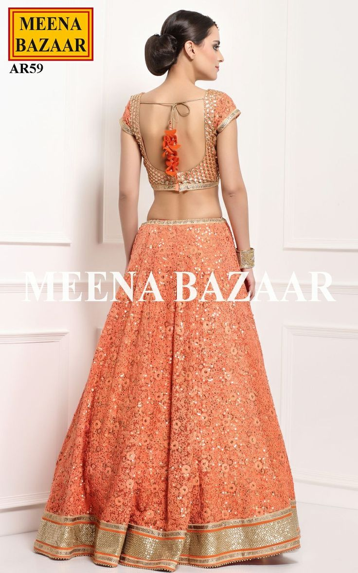 Orange Net Lehenga Choli - Lehengas - Wedding