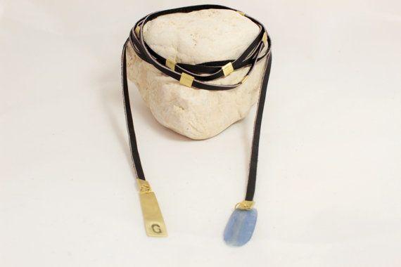 Leather Wrap Boho Choker Personalized Leather Choker di NoaZen