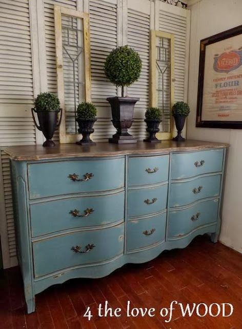 A beautiful French Provincial dresser given a distressed finish with Provence Chalk Paint® decorative paint by Annie Sloan on the body and a unique layered finish with Old Ochre on the top | By 4 the love of WOOD