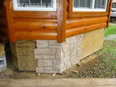 Best 25 mobile home skirting ideas only on pinterest deck skirting front deck and under deck - Fake brick skirting ...
