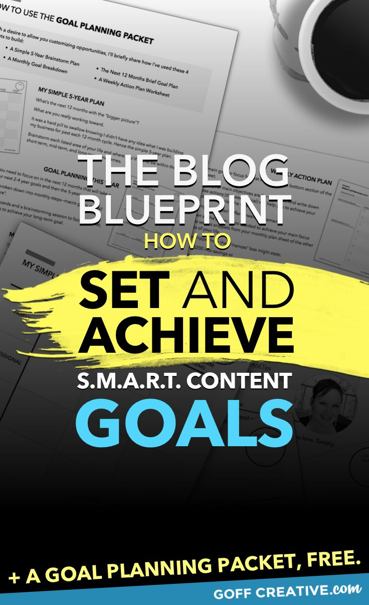 Your content needs a goal, just like your business does. Click through and get your free goal planning packet + all the details on how to set and achieve specific, measurable, achievable, realistic, and timely blog content goals. Or Pin this for later!