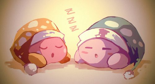 """garmmy: """"drew for the kirby 1draw last night.. i miss playing kirby! amazing mirror was my favourite kirby game. i'd like to get triple deluxe but i'm already planning to get too many 3ds games oops """""""
