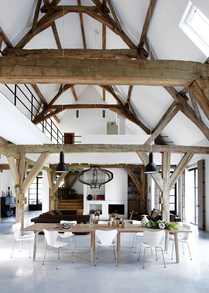 A frame of exposed beams from the book modern country by for Decoracion tipo loft