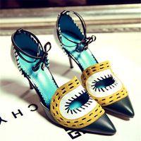 2015 туфли на высоком каблуке женщин кожа одиночные острым носом тонкие каблуки цвета блок украшения обувь бесплатная доставка