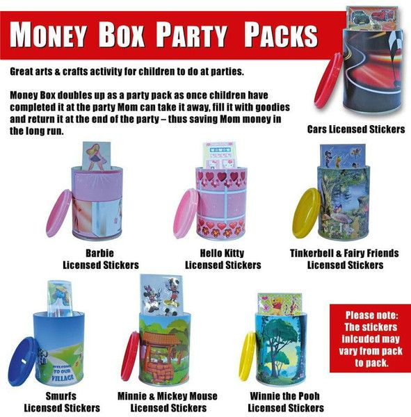 These money boxes are a party pack, a gift, an activity, a savings plan, a hold all and whatever else creative kids can dream up as a use for them! All money bo