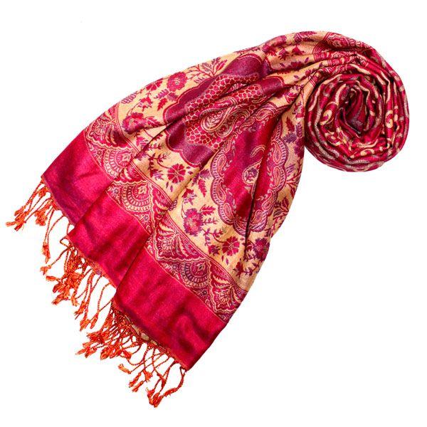 78106 LORENZO CANA Pashmina Damenschal Tuch Damast Jacquard gewebt Beere Gelb | eBay