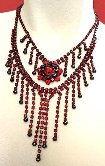 Czech Rhinestone Necklace - Garnet Red | Strass Collier - Granatrot - Exklusivmodell *sc025 - JAUL.biz Perlen und Glas