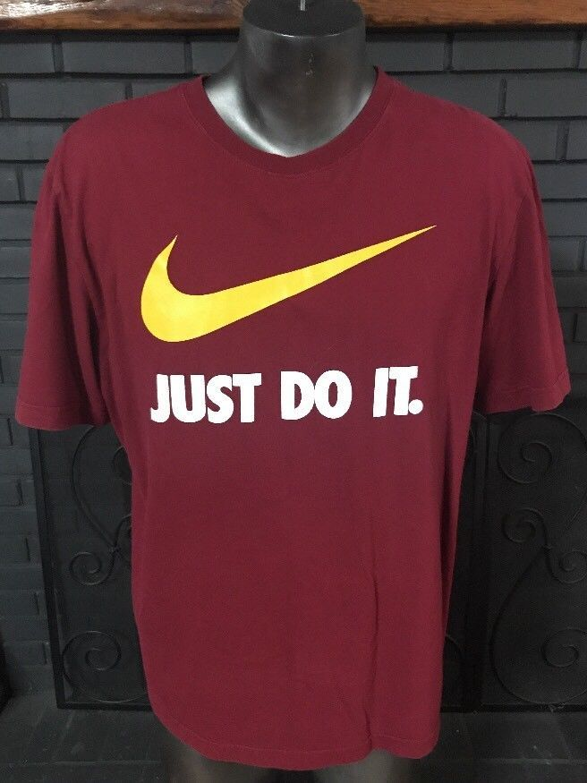 new collection retail prices details for Nike Just Do It Regular Fit Tee Shirt Maroon Men's Size XL ...