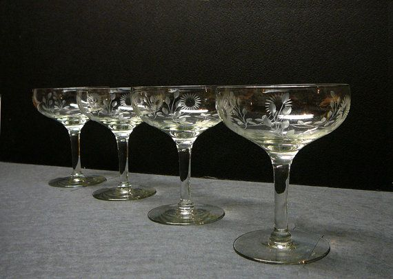 Vintage Sherbet Glasses Dessert Dish Long Stem Ice Cream