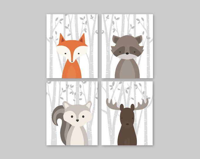 Baby Nursery Decor - conjunto de estampados de animales bebé vivero arte bosque vivero animales bebé habitación decoración bosque de la pared de 4 ardilla zorra alces mapache