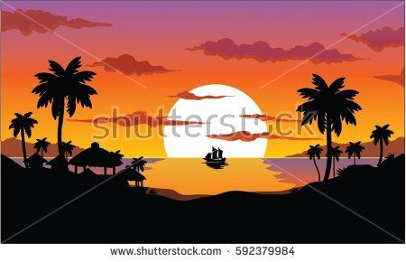 silhouette view of the sunset with coconut trees and bungalows