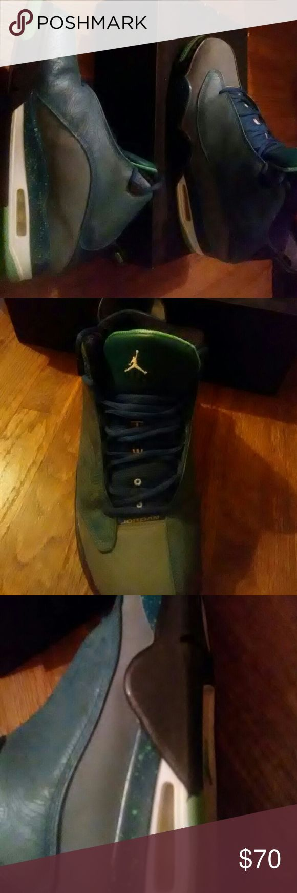 Air jordan dub zero Limited edition lazer green and blue 30th anniversary of jordan retros. Has every pair of retros lazerd on the side and every feature of retros.good condition lightly wore. Air Jordan Shoes Athletic Shoes