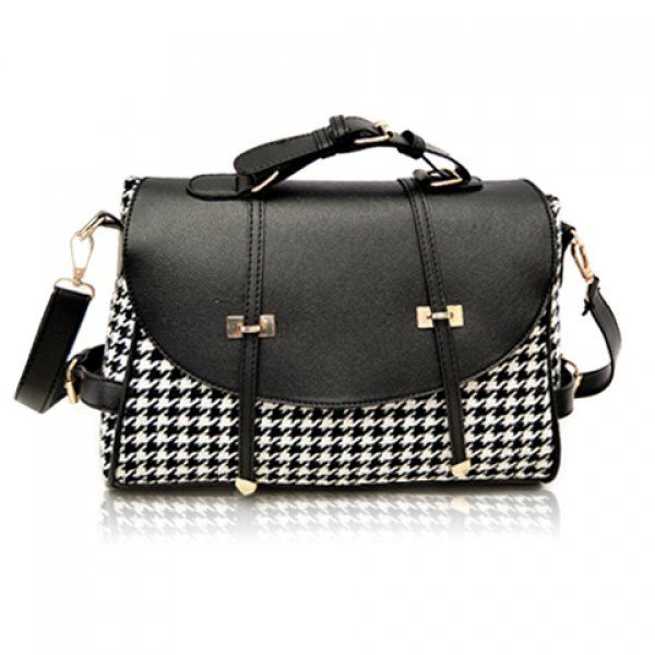 Fashion Houndstooth and Buckle Design Women's Crossbody Bag,