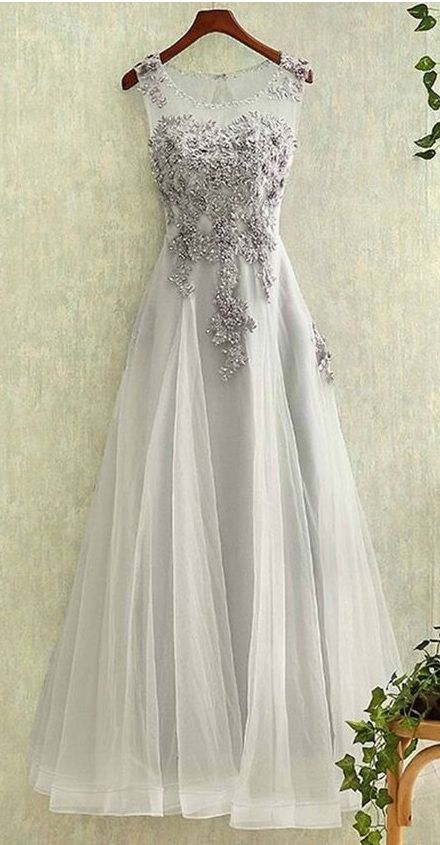 Elegant Sleeveless Prom Dress,Long Tulle Prom Dress,Appliques Prom Dresses,Grey Tulle Homecoming Dress Prom Dresses,Tulle Evening Dress,L102