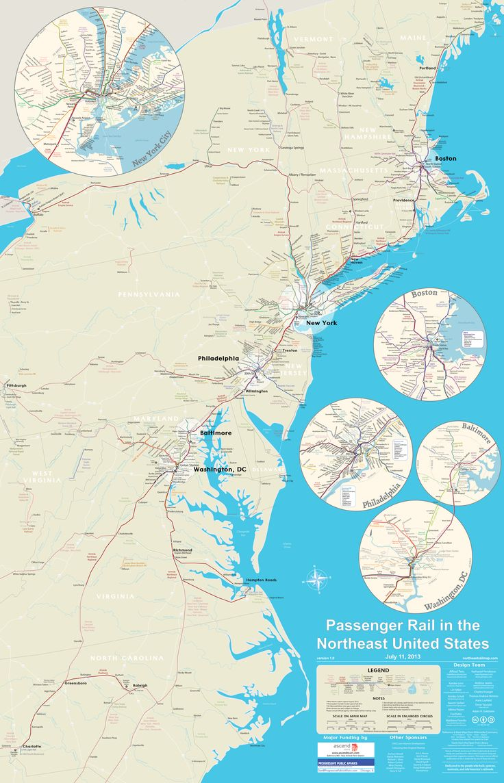 The Northeast Rail Map covers trains from Maine to North