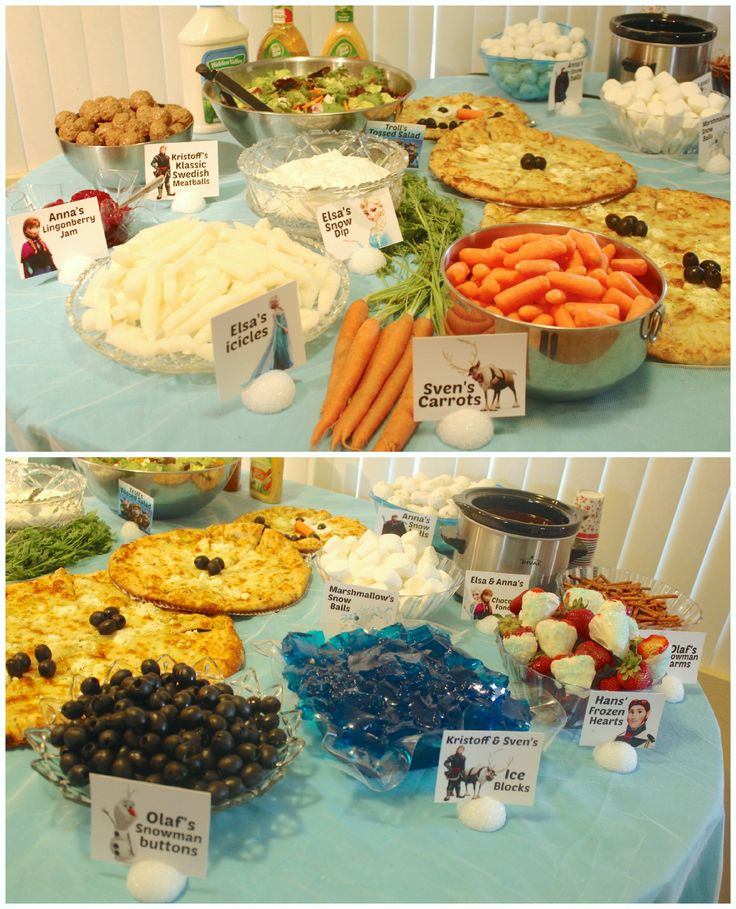 thinking about these a s healthy food look at the pizza its olaf :) Disney Frozen Food Table