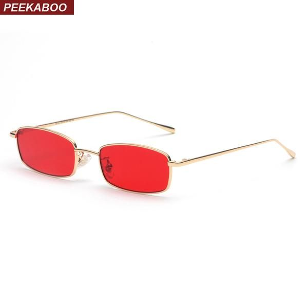 #FASHION #NEW Peekaboo small rectangle sunglasses men red lens yellow 2018 metal frame clear lens sun glasses for women unisex uv400