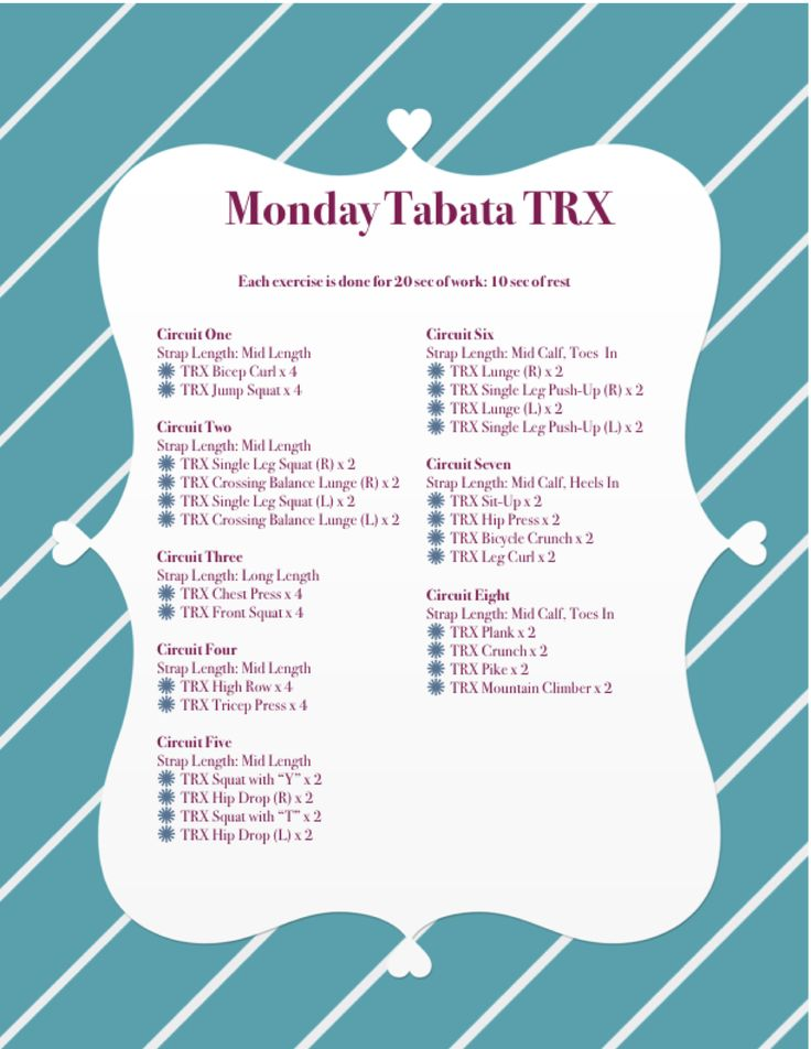 Hello everyone here my workout I am planning for my TRX class tomorrow! I like to change it up each week to keep my students in the game. I will do tabata, AMRAPS, circuit and challenges it just de…