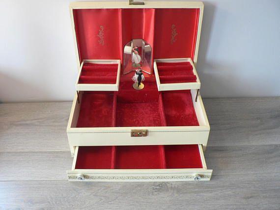 Vintage Reuge Ladies Tiered Musical Jewelry Box  Swiss
