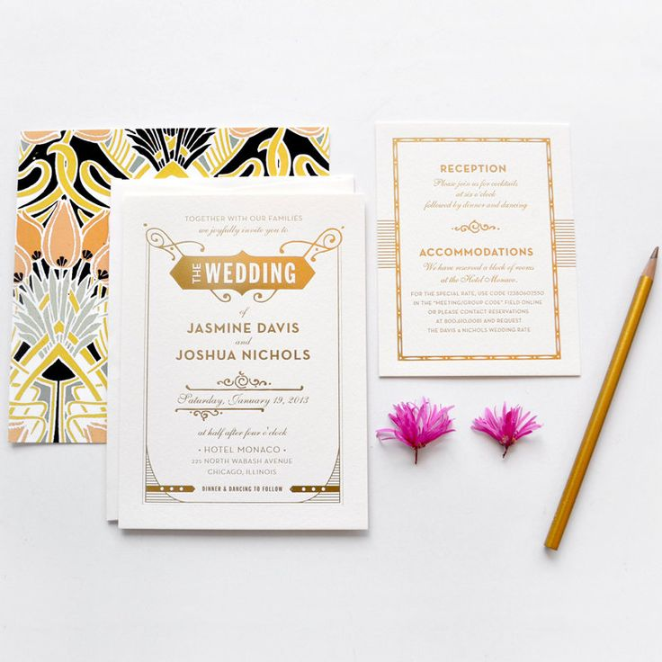 Gold foil Gatsby invites