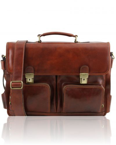 VENTIMIGLIA TL141449 Leather multi compartment TL SMART briefcase with front pockets
