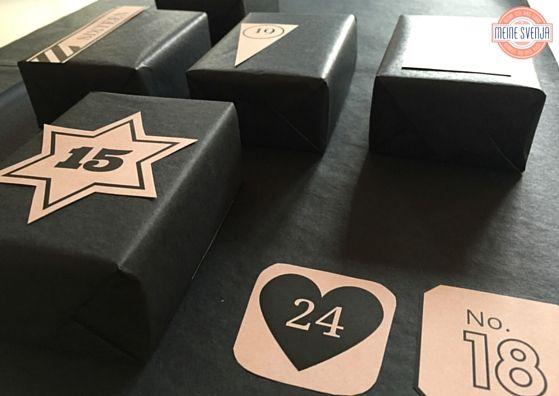 Adventskalender Zahlen zum Ausdrucken Handlettering beige und Black Boxes www.meinesvenja.de