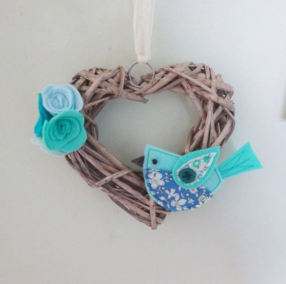 heart wreath, bird decoration, blue flower wreath, gift for mum, wicker heart, wedding gift, country style, hanging heart decor, girls room