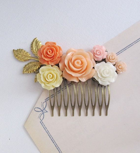 romantic peach rose hair comb accessory peach pink ivory white roses