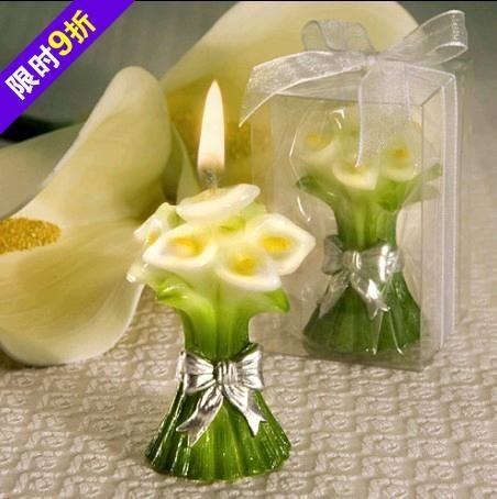 Nueva lily boda de la vela del banquete de boda decoraciones del favor de la ducha nupcial favor regalos del cabrito vela de cumpleaños recuerdos de la boda(China (Mainland))