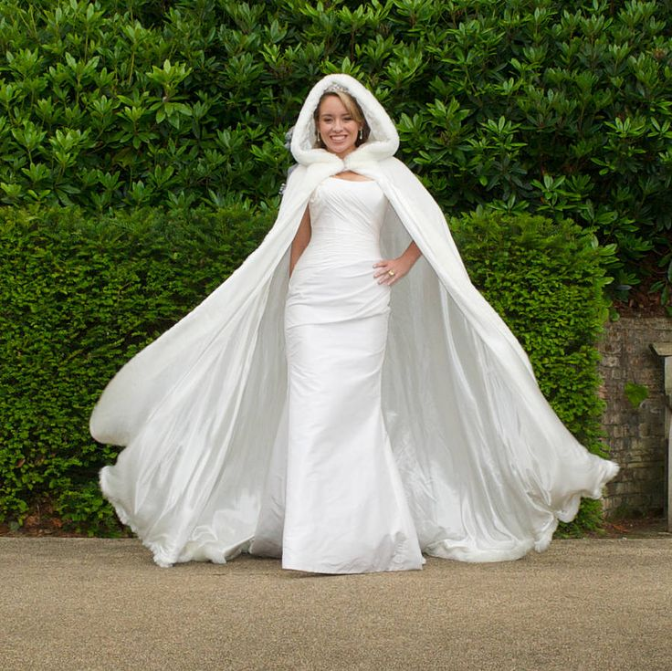 hooded bridal cape with faux fur hood.  Okay...it's admittedly a bit dramatic, but also lovely!