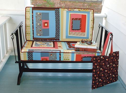 patchwork porch bench