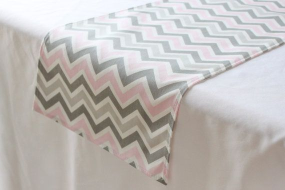 Pink and grey chevron table runner - Baby shower runner - Nursery decor - Wedding table runner - Coffee Table  Dining table - Birthday party