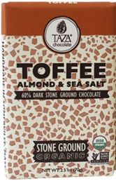 A box of 10 bars of Taza Chocolate Toffee Almond Sea Salt.