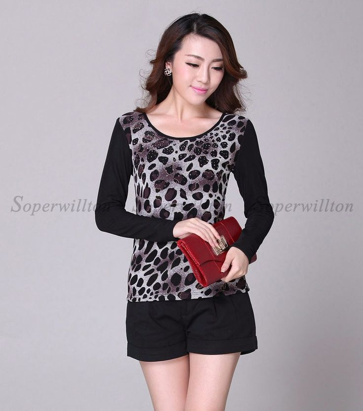 Soperwillton Brand New Fashion 2016 Long Sleeve O-Neck Leopard Sequined Women Tops Tees Cotton Women Clothing Roupas Femininas Dropshipping